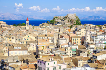 Corfu town panorama over the old city. Venetian fortress in back