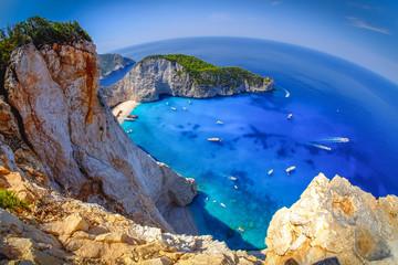Navagio Bay Zakynthos. Shipwreck beach view from above. Fisheye