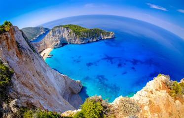 Navagio Bay Zakynthos. Shipwreck beach view from above. Clear wa