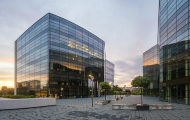 Modern office building in the evening