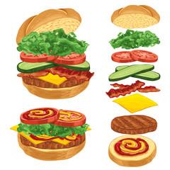 Illustration of tasty burger with cheese, meet, hamon, cucumber, salad and tomato