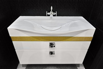 Modern White Vanity Basin Unit In Black Tiled Washroom