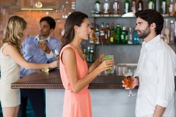 Couple holding a glass of cocktail in front of bar counter