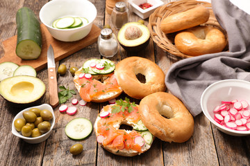 bagel with salmon slice and cheese