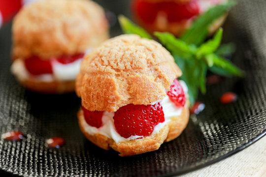 Choux à la crème fraise et mascarpone 2