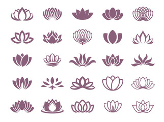 Lotus symbol illustration icon set