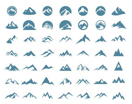 Mountains logo icon set