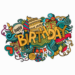 Birthday hand lettering and doodles elements background.