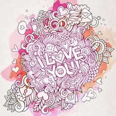 Vector love doodles watercolor card design