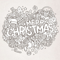 Merry Christmas hand lettering and doodles elements background