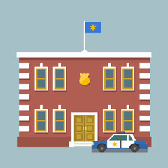 Police station with flag and shield sign. Сity police department red brick building and car. Infographic element. Flat style vector illustration