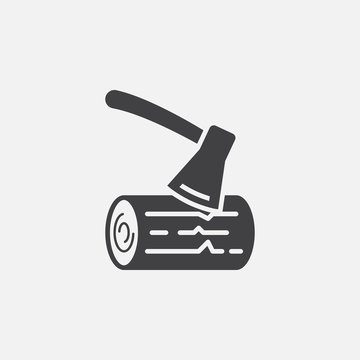 ax and wood icon vector, solid logo illustration, pictogram isolated on white