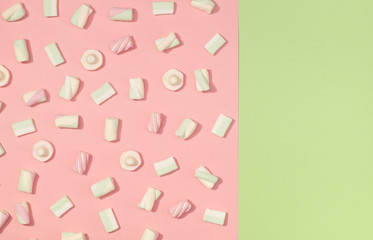 Marshmallows flat lay