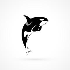 orca whale sign logo emblem on white background