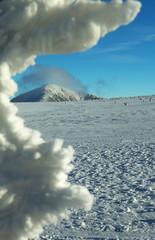 Winter Landscape with Snezka Peak, Giant Mountains, Czech Republ
