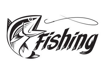 graphic fishing, vector