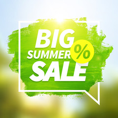 Green hand paint big summer sale on blurred background.