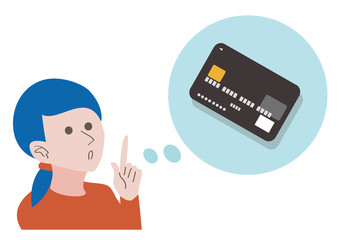 A woman think about credit card
