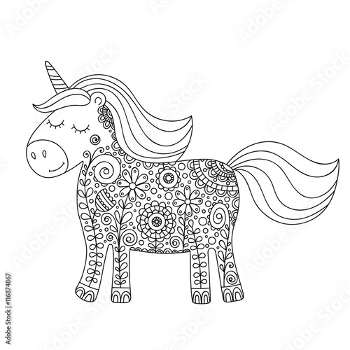 Doodle Unicorn. Cute Hand Drawing Unicorn With Floral Zentangle Ornament.  For Kids And Adults