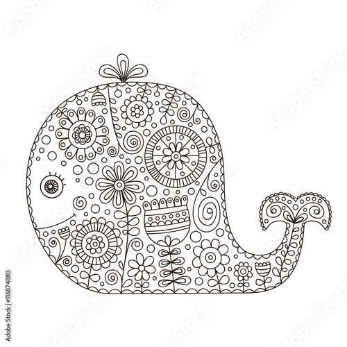 Doodle Whale Hand Drawn Vector Whale With Doodle Floral Ornament