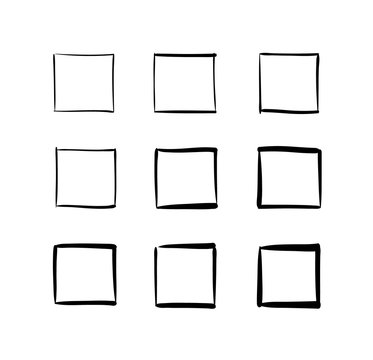 Set of hand-drawn vector squares