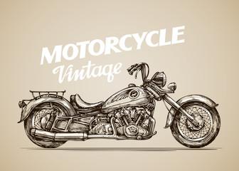 Vintage motorcycle. Hand drawn retro motorbike. Vector illustration