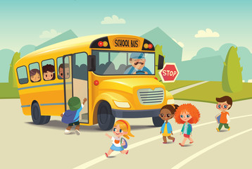 School bus traffic stop law flayer . Back To School Safety Concept. Kids riding on school bus. Child boarding school bus. Kids crossing the road. Vector illustration.
