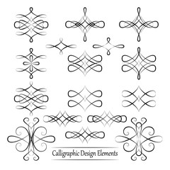 Set of black vector calligraphic elements for your design on whi