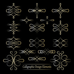 Set of gold vector calligraphic elements for your design on blac