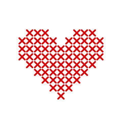 Hand-made red heart embroidered with a cross