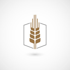 Wheat ear icon. Isolated on white background. Vector illustration, eps 10.
