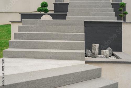 Vorgarten Steingarten Außentreppe Aus Granit   Front Garden Stone ...