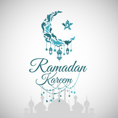 Illustration of Ramadan Kareem with intricate Arabic lamp for the celebration of Muslim community festival. Free hand write with a modern lantern and stars specially for Ramadan.