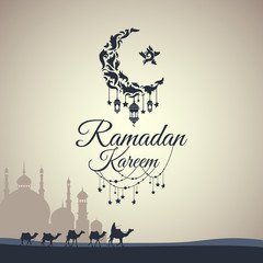 Illustration of Ramadan Kareem with month, a mosque and a caravan of camels for the celebration of Muslim community festival. Free hand write with a modern lantern and stars specially for Ramadan.