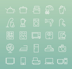 Set of Isolated Quality Universal Standard Minimal Simple White Home Appliances Thin Line Icons on Color Background.