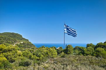 Größte griechische Flagge der Welt in Keri/Zakynthos