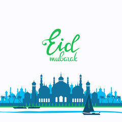 Deurstickers Eid mubarak poster. Illustration of Ramadan Kareem with Arabic mosque and the sea with boats for the celebration of Muslim community festival. Free hand write with a floral frame specially for Ramadan