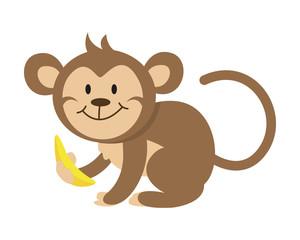 Flat Animal Character Logo - Monkey