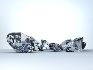 Diamonds placed on white background, 3D illustration.