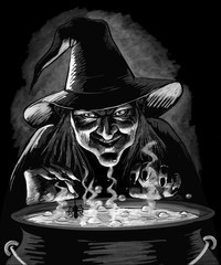 Evil Witch and Cauldron