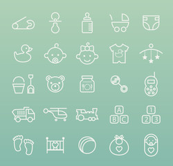 Set of Isolated Quality Universal Standard Minimal Simple White Baby Thin Line Icons on Color Background.