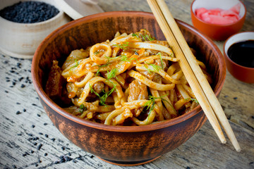 Udon noodles with meat pork in sauce traditional Japanese cuisin