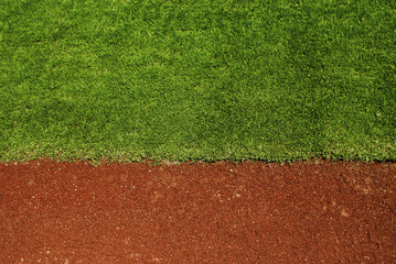 Empty baseball field with grass and copy space.