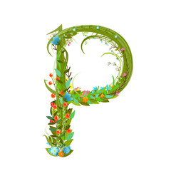 Letter P floral latin decorative character alphabet lettering sign