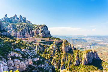 View of the Monastery of Montserrat in Catalonia, near Barcelona. Panorama from the top of the mountain. Wall mural