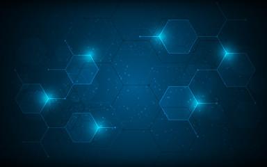 abstract hexagon pattern molecular sci fi scientific design tech innovation concept background