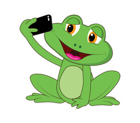 Illustration of frog with selfie