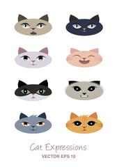 Cat expressions avatars. Cartoon style.