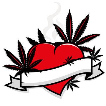 Marijuana leaves on heart and banner