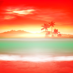 Background with sea and palm trees